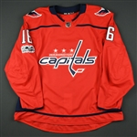 Albert, John<br>Red Set 1 w/ NHL Centennial Patch - Game-Issued (GI)<br>Washington Capitals 2017-18<br>#16 Size: 58