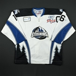 Flichel, Marty *<br>White Kelly Cup Finals w/C - Game 1 & 2<br>Idaho Steelheads 2009-10<br>#16 Size: 56