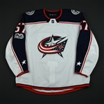 Bittner, Paul<br>White Set 1 w/ NHL Centennial Patch - Preseason Only<br>Columbus Blue Jackets 2017-18<br>#57 Size: 58