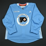 adidas<br>Light Blue Practice Jersey w/ Rothman Institute at Jefferson Patch<br>Philadelphia Flyers 2017-18<br> Size: 56