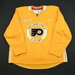 adidas<br>Yellow Practice Jersey w/ Rothman Institute at Jefferson Patch<br>Philadelphia Flyers 2017-18<br> Size: 58