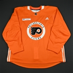 adidas<br>Orange Practice Jersey w/ Rothman Institute at Jefferson Patch<br>Philadelphia Flyers 2017-18<br> Size: 58+
