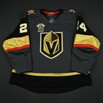 Lindberg, Oscar<br>Gray Stanley Cup Playoffs w/ Inaugural Season Patch<br>Vegas Golden Knights 2017-18<br>#24 Size: 56