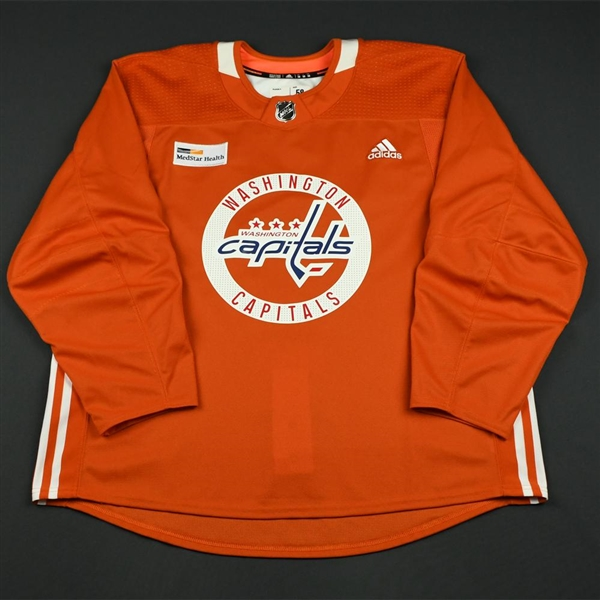 adidas<br>Orange Practice Jersey w/ MedStar Health Patch<br>Washington Capitals 2017-18<br> Size: 58