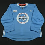 adidas<br>Light Blue Practice Jersey w/ MedStar Health Patch<br>Washington Capitals 2017-18<br> Size: 58