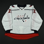 Bowey, Madison <br>White Set 3 / Playoffs - Game-Issued (GI)<br>Washington Capitals 2017-18<br>#22 Size: 58