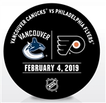 Philadelphia Flyers Warmup Puck<br>February 4, 2019 vs. Vancouver Canucks<br>Philadelphia Flyers 2018-19<br>2000th Franchise Win