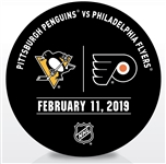 Philadelphia Flyers Warmup Puck<br>February 11, 2019 vs. Pittsburgh Penguins<br>Philadelphia Flyers 2018-19<br>56