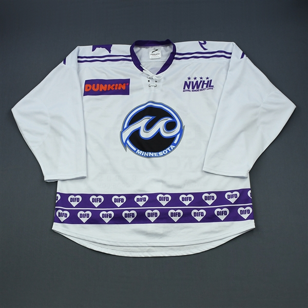 Schmid, Haylea<br>White DIFD Warm-Up Jersey (Game-Issued) - March 2, 2019 @ Boston Pride<br>Minnesota Whitecaps 2018-19<br>#91 Size: LG
