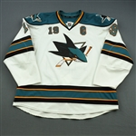Thornton, Joe *<br>White w/C - Photo-Matched<br>San Jose Sharks 2011-12<br>#19 Size: 58+