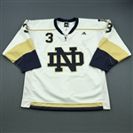 Blatchford, Brett *<br>White - w/ Wounded Warrior Patch - Autographed<br>University of Notre Dame 2009-10<br>#3 Size: 54