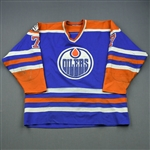Coffey, Paul *<br>Blue - w/International Year of Disabled Persons Patch<br>Edmonton Oilers 1981-82<br>#7 Size: NA