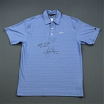 Woods, Tiger *<br>Blue Nike Polo - U.S. Open Third Round  June 14, 2008 - Autographed & Inscribed 2008 US Open 3rd Round<br>Tiger Woods 2008<br> Size: M