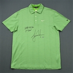 Woods, Tiger *<br>Green Nike Polo - U.S. Open Second Round  June 13, 2008 - Autographed & Inscribed 2008 US Open 2nd Round - Photo-Matched<br>Tiger Woods 2008<br> Size: M