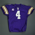 Favre, Brett *<br>Purple Throwback w/C - worn 11/29/09 vs. Chicago Bears, 1st Half - Autographed and Inscribed - Photo-Matched <br>Minnesota Vikings 2009<br>#4 Size: 48Q