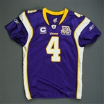 Favre, Brett *<br>Purple w/C & 50-Year Patch - worn 9/9/10 vs. New Orleans Saints, 2nd Half - Autographed and Inscribed - Photo-Matched<br>Minnesota Vikings 2010<br>#4 Size: 48Q