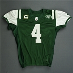Favre, Brett *<br>Green - w/C - worn 9/14/08 vs. Patriots - Photo-Matched to 2nd half - Autographed<br>New York Jets 2008<br>#4 Size: 52