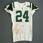 Revis, Darrelle *<br>White -  worn 12/26/10 vs. Chicago - Jersey and Pants - Photo-Matched<br>New York Jets 2010<br>#24 Size: 44