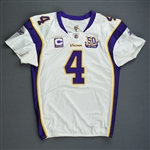 Favre, Brett *<br>White w/C & 50-year Patch - worn 10/31/10 vs. New England Patriots - 1st Half Only - 10,000th Career Pass Attempt - Autographed and Inscribed - Photo-Matched<br>Minnesota Vikings...