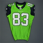 Branch, Deion *<br>Lime Green - worn 9/27/09 vs. Chicago Bears - Photo-Matched<br>Seattle Seahawks 2009<br>#83 Size: 42 S