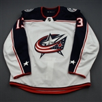 Atkinson, Cam<br>White Set 3 / Playoffs<br>Columbus Blue Jackets 2018-19<br>#13 Size: 54