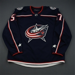 Bittner, Paul<br>Blue Set 1 - Game-Issued (GI)<br>Columbus Blue Jackets 2018-19<br>#57 Size: 58