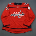 Bau, Mathias<br>Red Set 1 - Game-Issued (GI)<br>Washington Capitals 2018-19<br>#50 Size: 58