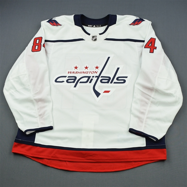 Bindulis, Kristofers<br>White Set 1 - Game-Issued (GI)<br>Washington Capitals 2018-19<br>#84 Size: 58