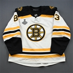 Kuhlman, Karson<br>White Stanley Cup Final Set 1 - Game-Issued (GI)<br>Boston Bruins 2018-19<br>#83 Size: 56