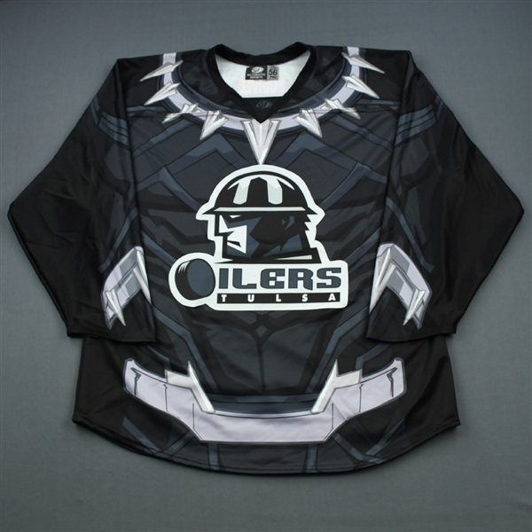 Blank - No Name On Back<br>MARVEL Black Panther (Game-Issued) - March 31, 2019 vs. Utah Grizzlies<br>Tulsa Oilers 2018-19<br>#55 Size: 54