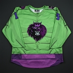 Kurker, Sam<br>Green - Hulk Jersey - Game-Issued<br>Manchester Monarchs  2017-18<br>15 Size: 54