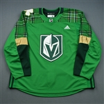 "Blank - No Name or Number<br>Green ""St. Patricks Day"" Warm-Up (Adidas adizero) <br>Vegas Golden Knights 2018-19<br> Size: 60"