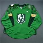 "Blank - No Name or Number<br>Green ""St. Patricks Day"" Warm-Up (Adidas adizero) <br>Vegas Golden Knights 2018-19<br> Size: 58G"