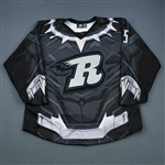 Fischer, Zach<br>MARVEL Black Panther w/Socks - February 23, 2019 vs. Atlanta Gladiators (autographed)<br>Rapid City Rush 2018-19<br>#5 Size: 54