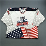 Gosselin, Christian *<br>White U.S. Flag - Twin Towers Relief Fund - Worn January 12, 2002 vs. Worcester IceCats<br>Hartford Wolf Pack 2001-02<br>#23 Size: 58
