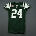 Revis, Darrelle *<br>Green, worn Oct. 17, 2011 vs. Miami<br>New York Jets 2011<br>#24 Size: 44