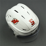 Carrick, Connor<br>White, Warrior Helmet w/ Bauer Shield<br>New Jersey Devils 2018-19<br>#5 Size: Small