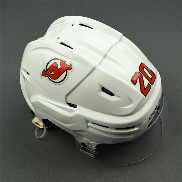 Coleman, Blake<br>White, Bauer Helmet w/ Bauer Shield<br>New Jersey Devils 2018-19<br>#20 Size: Medium