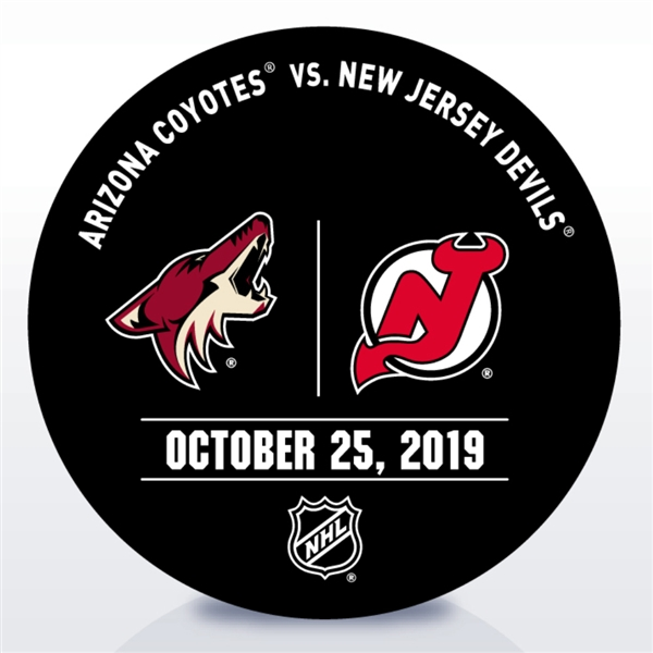 New Jersey Devils Warmup Puck<br>October 25, 2019 vs. Arizona Coyotes<br>New Jersey Devils 2019-20<br>