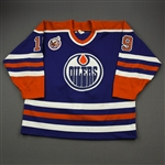 Benning, Brian *<br>Blue w/Stanley Cup 1893-1993 100th Anniversary Patch<br>Edmonton Oilers 1992-93<br>#19 Size: 54