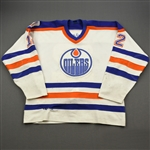 Carson, Jimmy *<br>White w/Oilers 88-89 10th Anniversary Patch<br>Edmonton Oilers 1988-89<br>#12 Size: XL