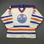 Huddy, Charlie<br>White w/Universiade 83 Patch<br>Edmonton Oilers 1982-83<br>#22