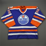 May, Alan *<br>Blue w/Oilers 88-89 10th Anniversary Patch<br>Edmonton Oilers 1988-89<br>#32 Size: L