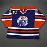 Rice, Steven *<br>Blue w/NHL 75th Anniversary Patch<br>Edmonton Oilers 1991-92<br>#15 Size: 54
