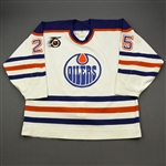 Smith, Geoff *<br>White w/NHL 75th Anniversary Patch<br>Edmonton Oilers 1991-92<br>#25 Size: 54