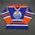 Tikkanen, Esa *<br>Blue Stanley Cup Finals - Name Removed<br>Edmonton Oilers 1984-85<br>#14 Size: M