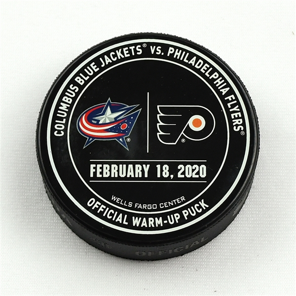 Philadelphia Flyers Warmup Puck<br>February 18, 2020 vs Columbus Blue Jackets<br>Philadelphia Flyers 2019-20<br>