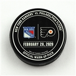 Philadelphia Flyers Warmup Puck<br>February 28, 2020 vs New York Rangers<br>Philadelphia Flyers 2019-20<br>