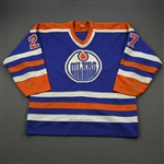 Semenko, Dave *<br>Blue - Photo-Matched<br>Edmonton Oilers 1984-85<br>#27 Size: XL