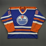 Hughes, Pat *<br>Blue - Photo-Matched to Posed Photo with the Stanley Cup<br>Edmonton Oilers 1983-84<br>#16 Size: L